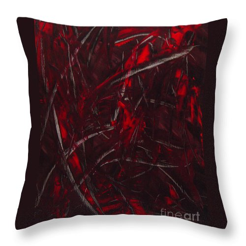 Abstract Throw Pillow featuring the painting Expectations Red by Dean Triolo