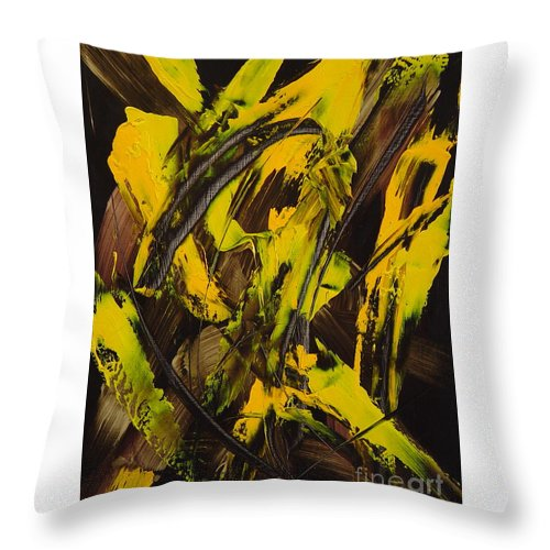 Abstract Throw Pillow featuring the painting Expectations Yellow by Dean Triolo