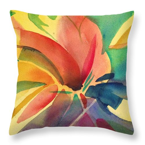 Abstract Throw Pillow featuring the painting Exploding Lily by J Worthington Watercolors