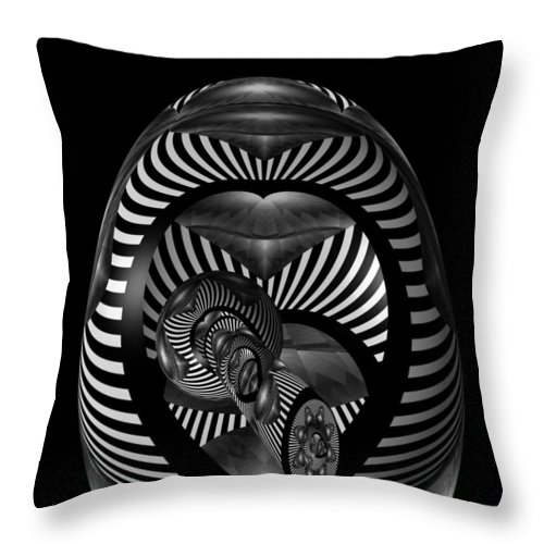 Digital Art Throw Pillow featuring the digital art Exploration Into The Unknown Bw by Barbara St Jean
