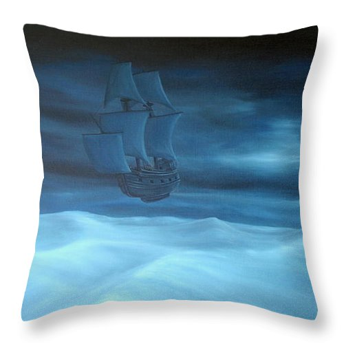 Canvas Print Dessert Landscapes Surreal Surrealism Pirate Ship Boat Dark Mystic Oilpaint Transportation Fantasy Throw Pillow featuring the painting Explorers by Michel Sehstedt