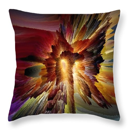 Color Explosion Throw Pillow featuring the digital art Explosion by Tina Vaughn