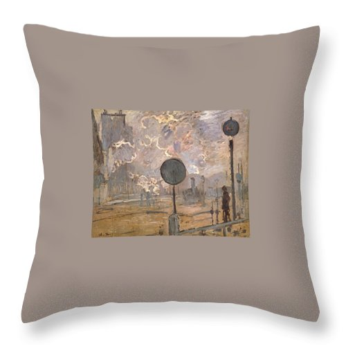 1877 Throw Pillow featuring the painting Exterior Of Saint-lazare Station by Claude Monet