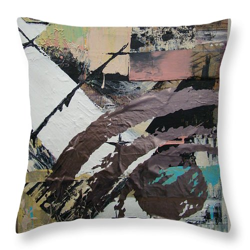Mixed Media Throw Pillow featuring the mixed media Eye Collage by Suzanne Shewmake Akin
