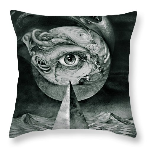 otto Rapp Surrealism Throw Pillow featuring the drawing Eye Of The Dark Star by Otto Rapp