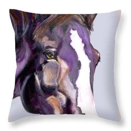 Thoroughbred Throw Pillow featuring the painting Eye On The Prize by Susan A Becker