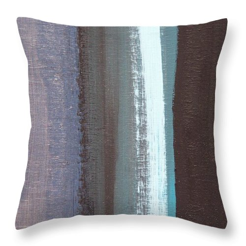 Blue Jay Colors On Abstract Canvas Throw Pillow featuring the painting Blue Jay Feather by Angela Fisher