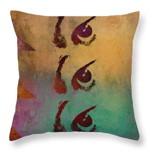 Eye Spy Throw Pillow featuring the mixed media Eye Spy by Susan Maxwell Schmidt