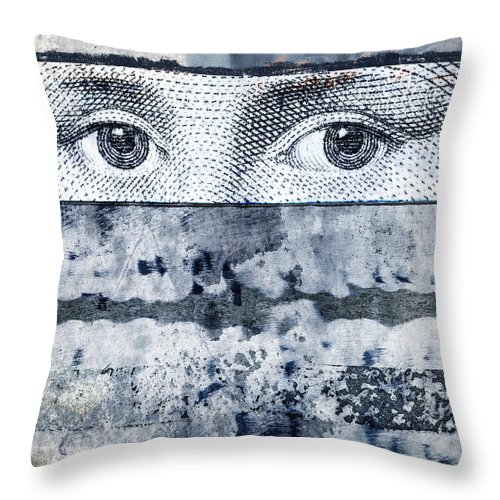 Collage Throw Pillow featuring the photograph Eyes On Blue by Carol Leigh