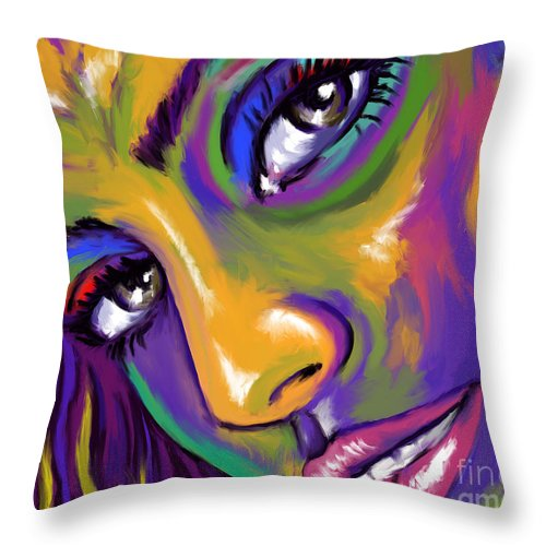 Face Throw Pillow featuring the painting Eyes01 by Tim Gilliland