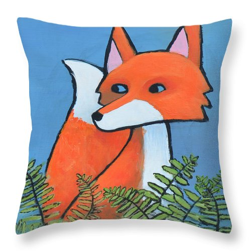 Fox Throw Pillow featuring the painting F Is For Fox by Melissa Peterson