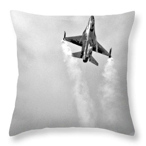 Air Show Throw Pillow featuring the digital art F16 F-16 by J Biggadike