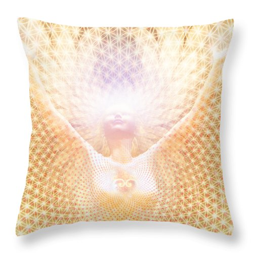 Sacred Art Throw Pillow featuring the painting Fabric Of Life by Robby Donaghey