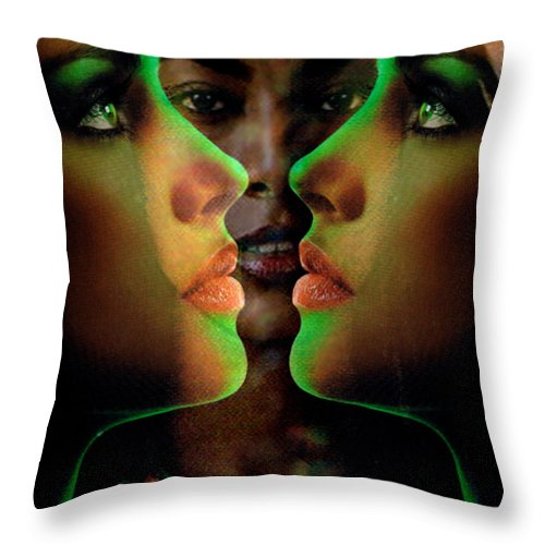 Women Throw Pillow featuring the digital art Face 2 Face by Seth Weaver