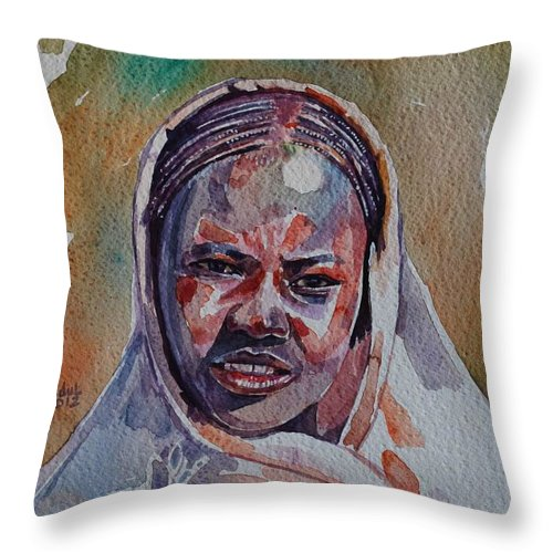 Face 22 Throw Pillow featuring the painting Face 22 by Mohamed Fadul