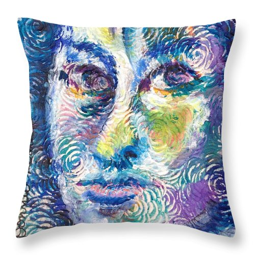 Face Throw Pillow featuring the painting Face by Donna Kerness
