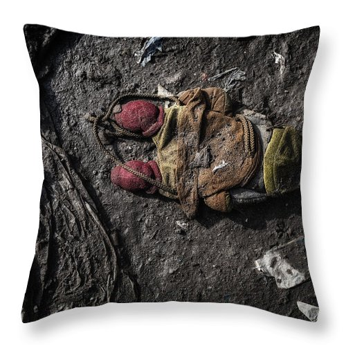 Discarded Throw Pillow featuring the photograph Face Doon In The Dirt by John Farnan