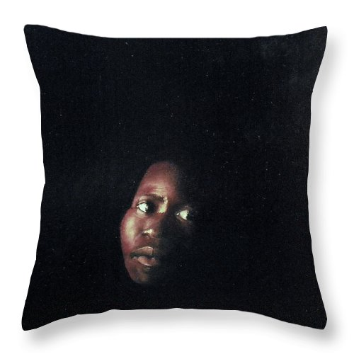 Face In The Dark Throw Pillow featuring the painting Face In The Dark by Tomas Castano