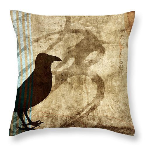 Raven Throw Pillow featuring the photograph Facing Future by Carol Leigh