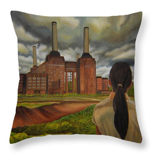 Storm Throw Pillow featuring the painting Facing Storm by Thu Nguyen