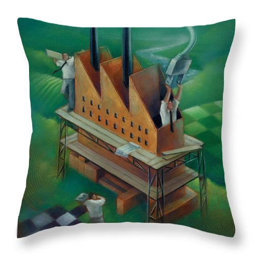 Factory Throw Pillow featuring the painting Factory-2 by Chris Van Es