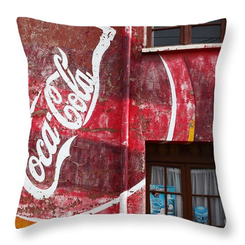 America Throw Pillow featuring the photograph Faded Coca Cola Mural 1 by James Brunker