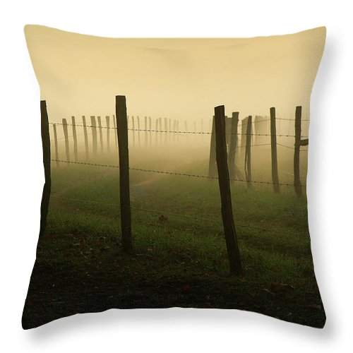Fence Throw Pillow featuring the photograph Fading Into The Fog by Douglas Stucky