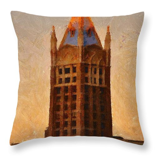 Architecture Throw Pillow featuring the painting Fading Slowly Into Night by Jeffrey Kolker
