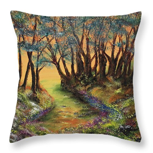 Faeries Throw Pillow featuring the painting Faerie's Copse by Regina Wirsich Roberts