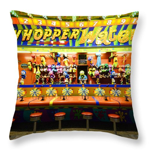 Whopper Water Throw Pillow featuring the photograph Fairground Fun Sideshow 2 by Bob Christopher