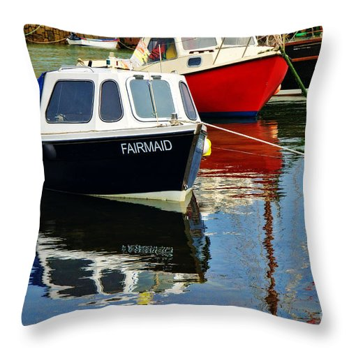 Mousehole Throw Pillow featuring the photograph Fairmaid At Mousehole Harbour by Susie Peek