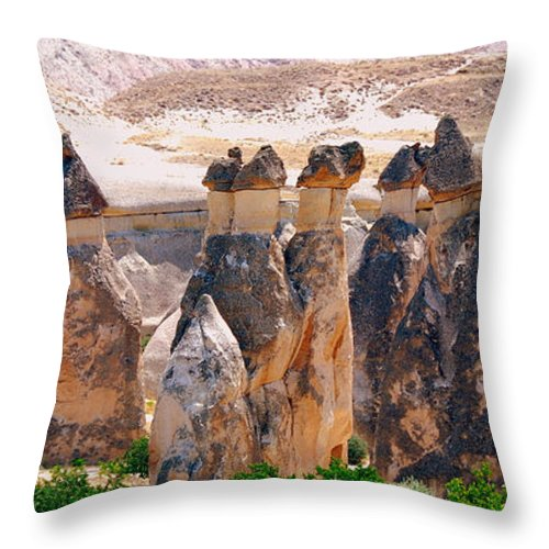 Landscape Throw Pillow featuring the photograph Fairy Chimney Panorama by Apurva Madia