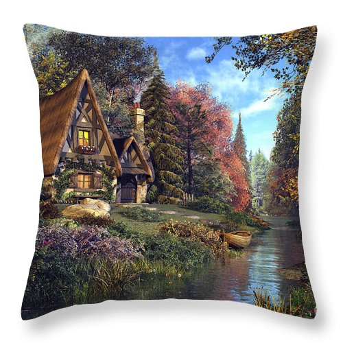 Fairytale Throw Pillow featuring the digital art Fairytale Cottage by MGL Meiklejohn Graphics Licensing