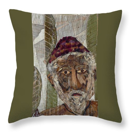 Portrait.holy Person Portrait Throw Pillow featuring the mixed media Fakeer by basant Soni