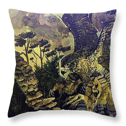 Falcon Throw Pillow featuring the painting Falcon by Fallon Franzen