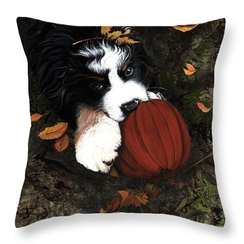 Bernese Mountain Dog Throw Pillow featuring the painting Fall 4 U by Liane Weyers