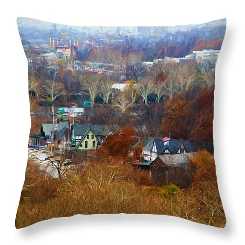 Boathouse Row Throw Pillow featuring the photograph Fall At Boathouse Row by Alice Gipson