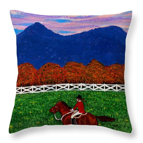 Horse Throw Pillow featuring the painting Fall Back by Edward Fuller