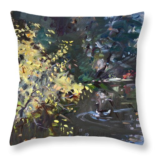 Fall Throw Pillow featuring the painting Fall By The Pond by Ylli Haruni