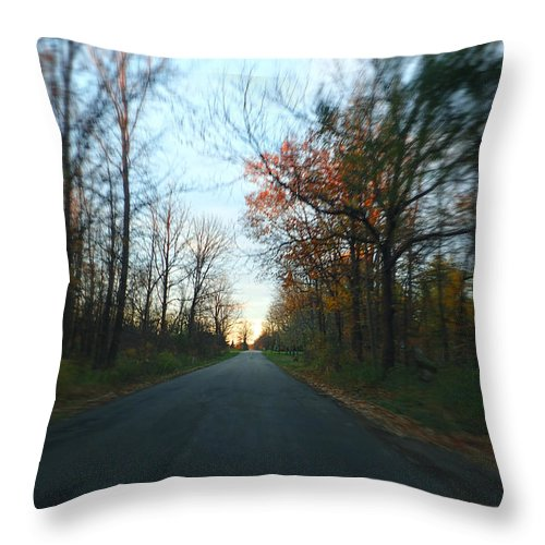 Michigan Throw Pillow featuring the photograph Fall Color Blur by Lars Lentz