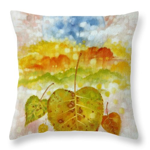 Seasons Throw Pillow featuring the painting Fall Cycle by John Lautermilch