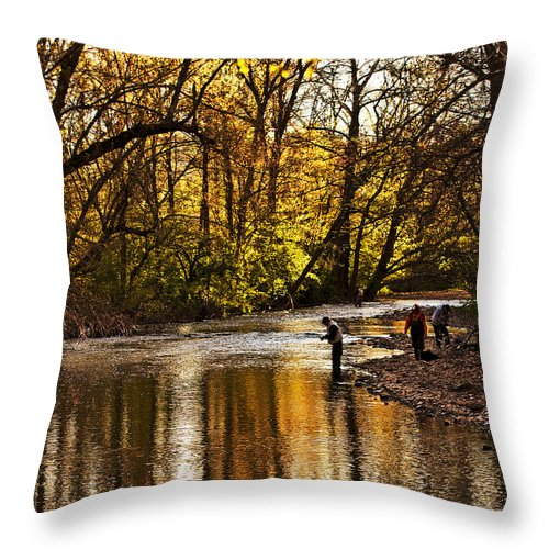 Spring Throw Pillow featuring the photograph Fall Fishing by Tom Gari Gallery-Three-Photography