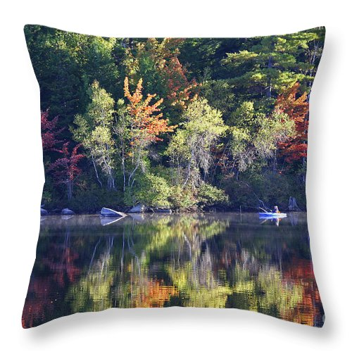 Maine Throw Pillow featuring the photograph Fall Fishing by Laura Mace Rand