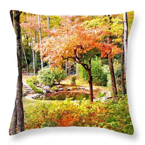 Duane Mccullough Throw Pillow featuring the photograph Fall Folage And Pond by Duane McCullough