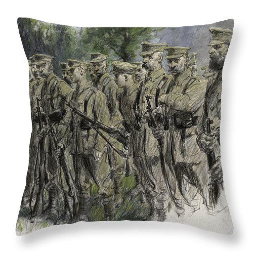 Soldier Throw Pillow featuring the pastel Fall In Norfolk Volunteers by Frank Gillett