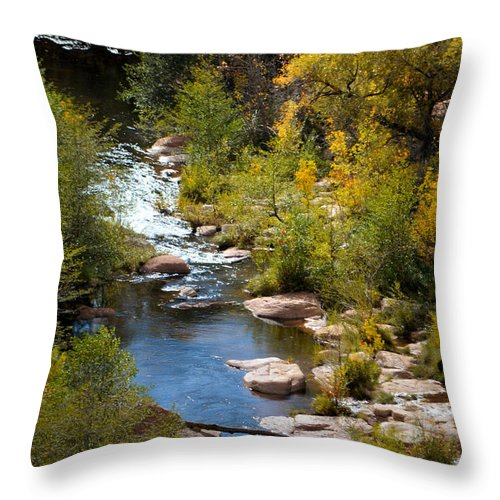 Oak Creek Canyon Throw Pillow featuring the photograph Fall In The Mountains by Deb Halloran