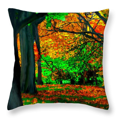 Trees Throw Pillow featuring the painting Fall Is Here by Bruce Nutting
