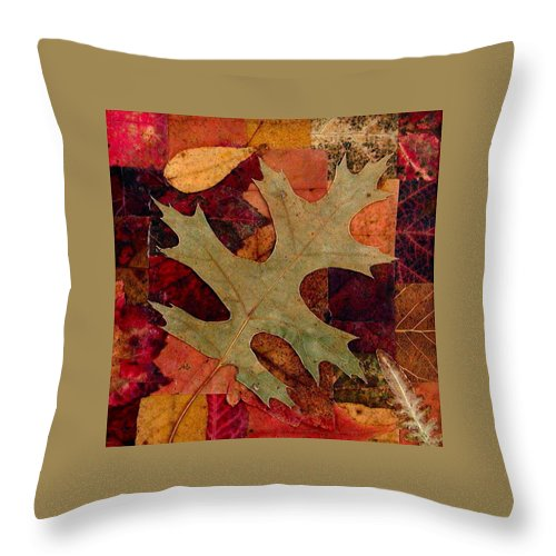 Autumn Throw Pillow featuring the mixed media Fall Leaf Collage by Anna Ruzsan