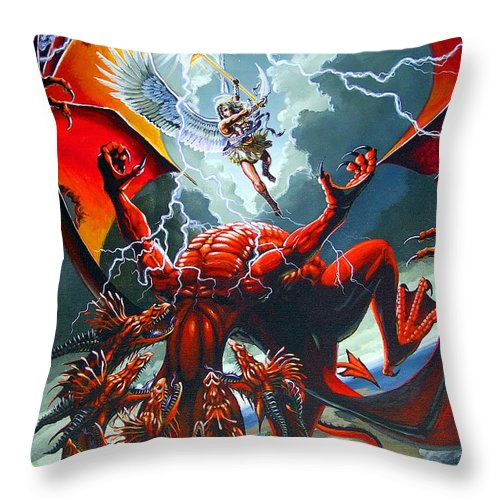 Dragon Throw Pillow featuring the painting Fall Of The Hydra by Stanley Morrison