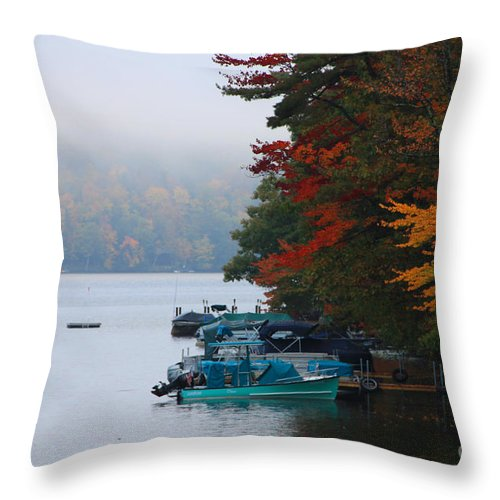 Fall Colors Throw Pillow featuring the photograph Fall On Little Squam by Michael Mooney